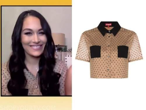 brie bella, drew barrymore show, beige polka dot crop shirt