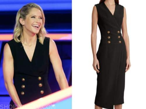 the chase, sara haines, black double breasted vest midi dress
