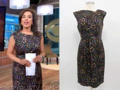 michelle miller, floral sheath dress, cbs this morning