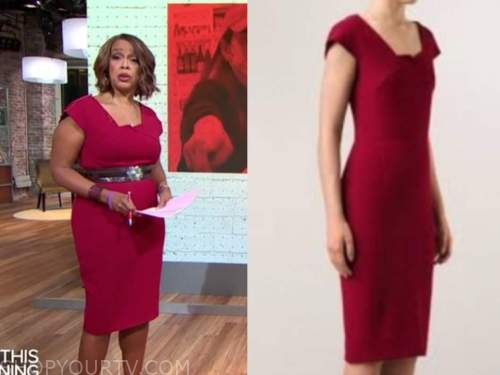 gayle king, cbs this morning, red sheath dress