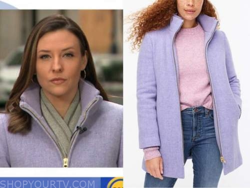 good morning america, mary bruce, lavender purple zip-front coat