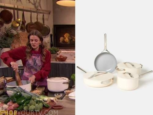 drew barrymore, drew barrymore show, ivory white cookware set