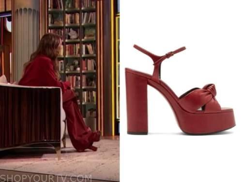 drew barrymore, drew barrymore show, red platform sandals