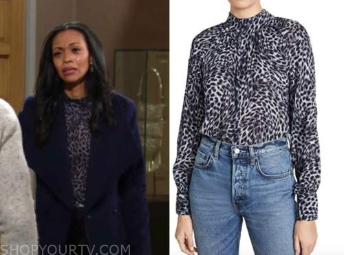 amanda sinclair, mishael morgan, the young and the restless, blue leopard mock neck blouse