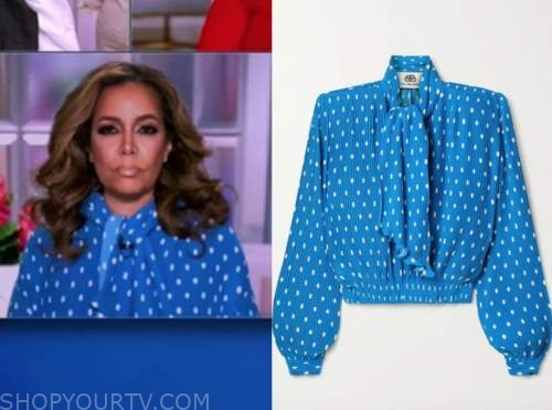 sunny hostin, the view, blue tie neck dot blouse