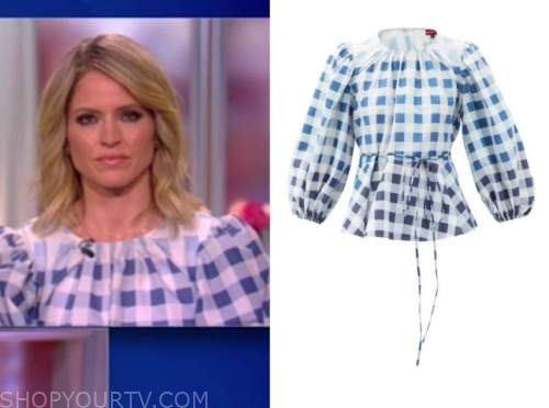 sara haines, the view, blue and white gingham top