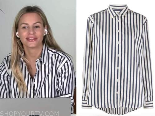 morgan stewart, striped shirt, E! news, daily pop