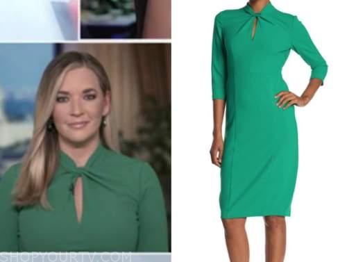 katie pavlich, outnumbered, green twist sheath dress