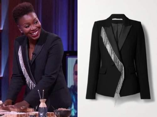 Folake Olowofoyeku, the kelly clarkson show, black fringe embellished blazer