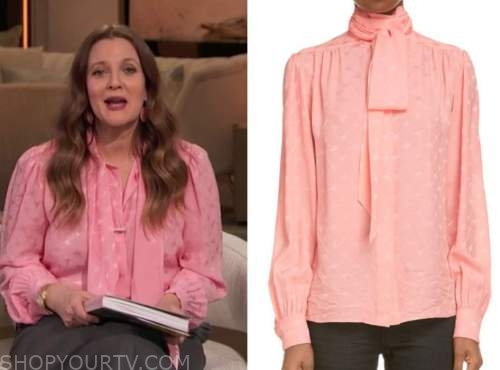 drew barrymore, drew barrymore show, pink silk tie neck blouse