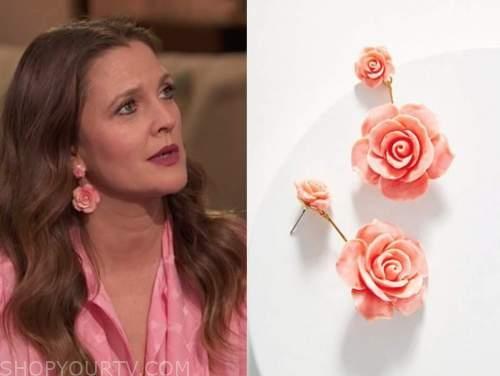 drew barrymore, drew barrymore show, pink rose flower earrings