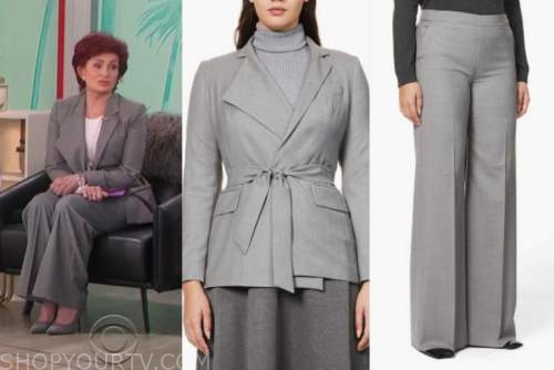 sharon osbourne, the talk, gray pant suit
