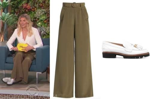 amanda kloots, the talk, green pants, white loafers
