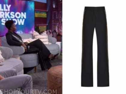 Folake Olowofoyeku, black embellished rhinestone side stripe pants, the kelly clarkson show