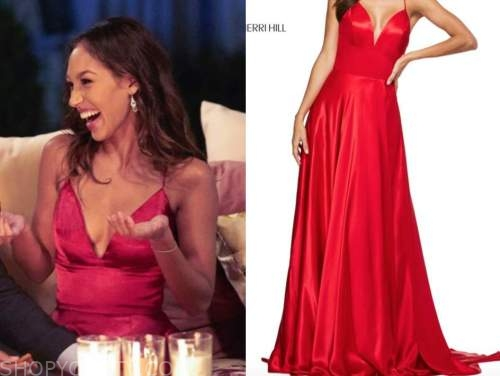 serena pitt, the bachelor, red satin gown