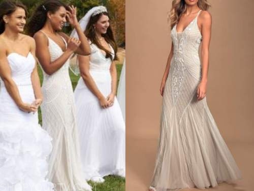 pieper james, the bachelor, white and nude embellished wedding dress