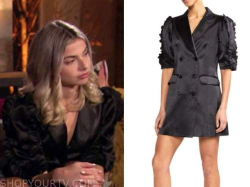 kit keenan, the bachelor, black silk puff sleeve blazer dress