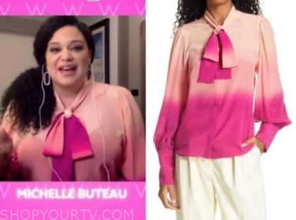 michelle buteau, the wendy williams show, pink ombre tie neck blouse