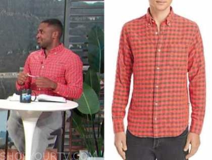 justin sylvester, coral pink check shirt, E! news, daily pop