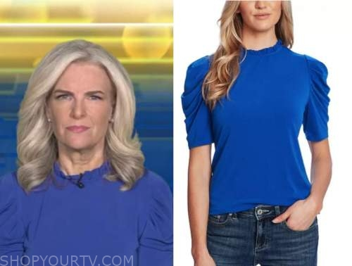 janice dean, fox and friends, blue puff sleeve top