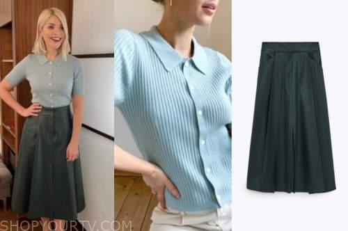 holly willoughby, this morning, polo knit top, leather skirt