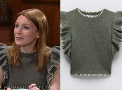 jordan, the young and the restless, gray ruffle knit top, madison thompson