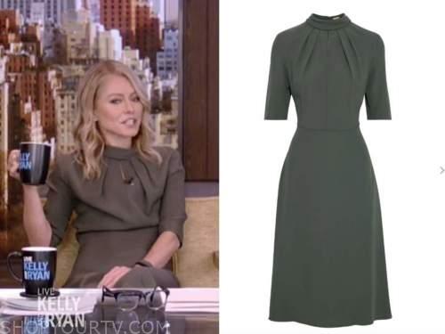 kelly ripa, live with kelly and ryan, olive green keyhole midi dress