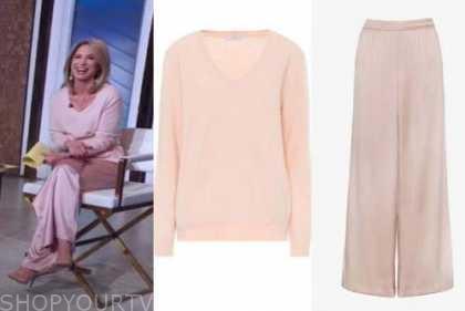 amy robach, good morning america, pink sweater, pink silk pants