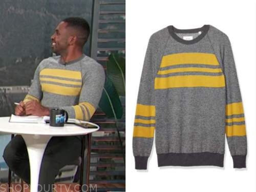 justin sylvester, e! news, daily pop, gray and yellow striped sweater