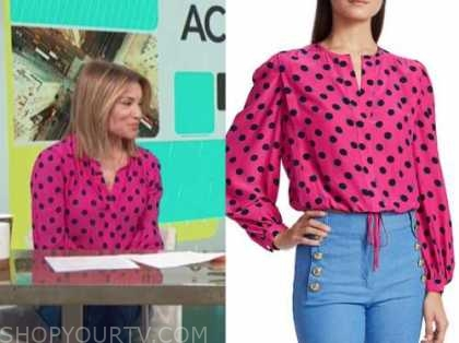 kit hoover, access daily, hot pink polka dot blouse