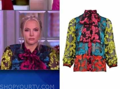 meghan mccain, the view, colorblock floral tie neck blouse