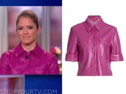 sara haines, the view, purple leather shirt
