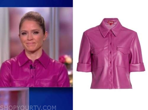 sara haines, the view, purple leather shirt
