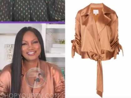 garcelle beauvais, the real, gold satin ruched sleeve jacket