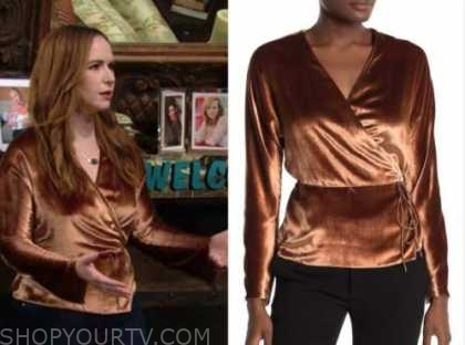 mariah copeland, camryn grimes, gold velvet wrap top, the young and the restless