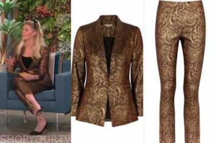 amanda kloots, gold jacquard pant suit, the talk