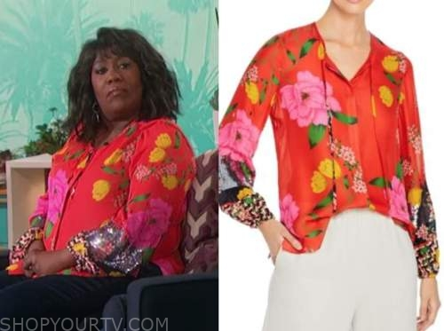 sheryl underwood, the talk, red floral sequin blouse