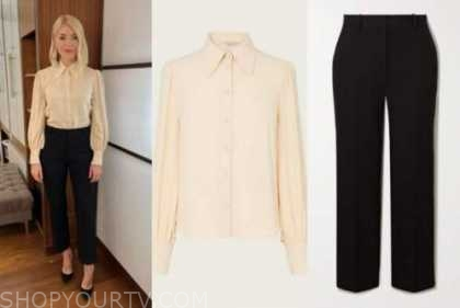 holly willoughby, this morning, ivory blouse, black pants