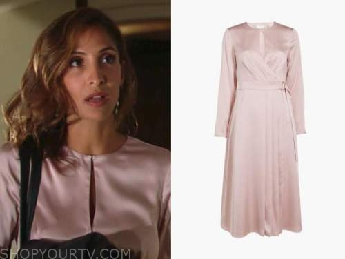 lily winters, the young and the restless, christel khalil, blush pink satin dress