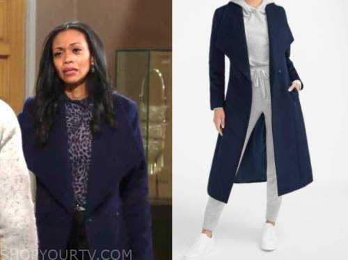 mishael morgan, the young and the restless, amanda sinclair, blue coat