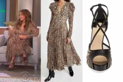 carrie ann inaba, leopard midi dress, the talk