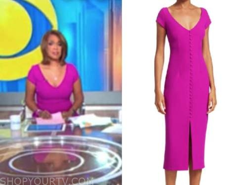 gayle king, pink button sheath dress, cbs this morning