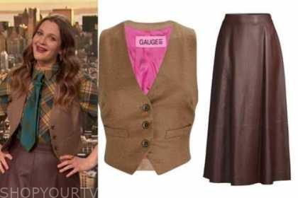 drew barrymore, drew barrymore show, vest, leather midi skirt