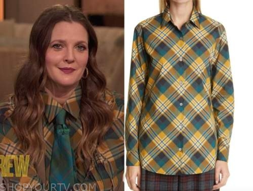 drew barrymore, drew barrymore show, green and yellow plaid shirt