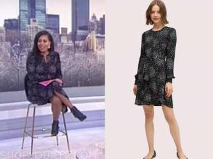 sheinelle jones, the today show, black multicolor dot dress