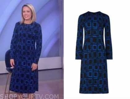 dylan dreyer, the today show, blue and black geometric dress