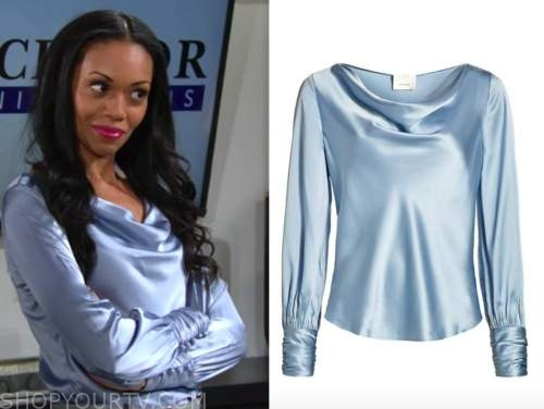 mishael morgan, amanda sinclair, the young and the restless, blue silk cowl drape top