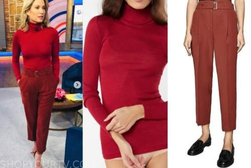 amy robach, good morning america, gma3, red turtleneck, red pants