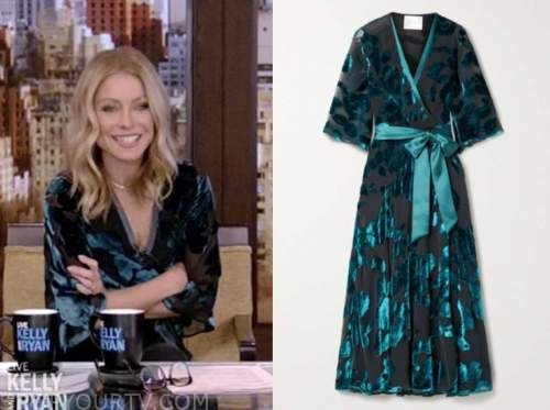 kelly ripa, teal blue velvet floral wrap dress, live with kelly and ryan