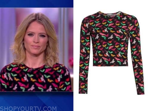 sara haines, the view, butterfly print top